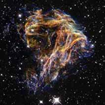 Sheets of debris from the explosion of Supernova N49, courtesy of NASA